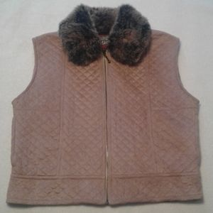 County Clothing Co faux suede quilted pink vest